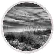 After Sunset In B And W Round Beach Towel
