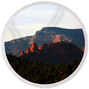 After Sunset In Sedona Round Beach Towel