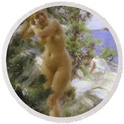 After The Bath, 1895 Round Beach Towel