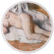 After The Bath Or Reclining Nude Round Beach Towel