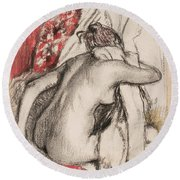 After The Bath Seated Woman Drying Herself Round Beach Towel