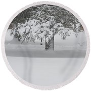 After The Blizzard Round Beach Towel