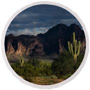 After The Rain In The Superstitions  Round Beach Towel