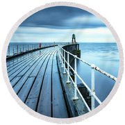 After The Shower Over Whitby Pier Round Beach Towel