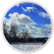 After The Snow Storm Round Beach Towel