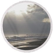 After The Storm - Frisco Pier - Outer Banks Nc Round Beach Towel