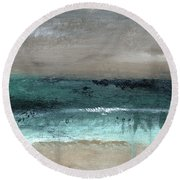 After The Storm 2- Abstract Beach Landscape By Linda Woods Round Beach Towel