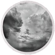 After The Storm Bw  Round Beach Towel