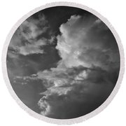 After The Storm In Black And White Round Beach Towel