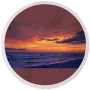 After The Sunset Round Beach Towel by Sandy Keeton