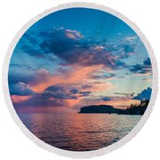 Afterglow On The Lakeshore Round Beach Towel