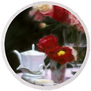 Afternnon Tea With Peonies Round Beach Towel