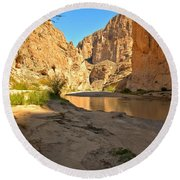Afternoon At Boquillas Canyon Round Beach Towel