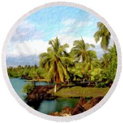 Afternoon At Mauna Lani Hawaii Round Beach Towel