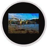 Afternoon At Siuslaw River Bridge Round Beach Towel