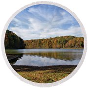 Afternoon At The Lake Round Beach Towel