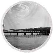 Afternoon At The Pier Round Beach Towel