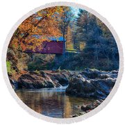 Afternoon Autumn Sun On Vermont Covered Bridge Round Beach Towel