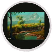Afternoon By The River With Peaceful Landscape L A S Round Beach Towel