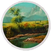 Afternoon By The River With Peaceful Landscape L B Round Beach Towel