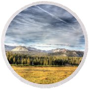 Afternoon Clouds Round Beach Towel