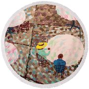Afternoon Coffee In New York City Round Beach Towel