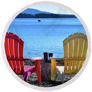 Afternoon Coffee Round Beach Towel