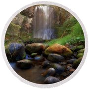 Afternoon Delight At Upper Bridal Veil Falls Round Beach Towel