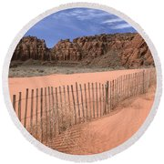 Afternoon In Snow Canyon Round Beach Towel