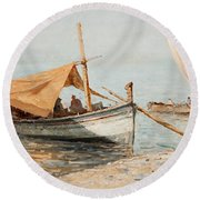 Afternoon In Toulon Round Beach Towel