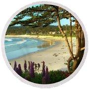 Afternoon On Carmel Beach Round Beach Towel