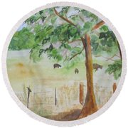 Afternoon On The Farm 2 Round Beach Towel