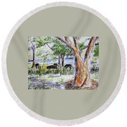 Afternoon Siesta On The Farm Round Beach Towel