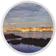 Afternoon Sun On Marblehead Neck Round Beach Towel