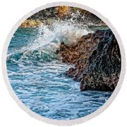 Against The Rocks Round Beach Towel