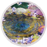 Agape Gardens Autumn Waterfeature II Round Beach Towel