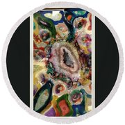Agates And Glass  Round Beach Towel
