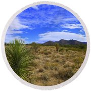 Agave And The Mountains 3 Round Beach Towel