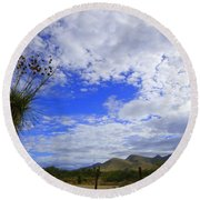 Agave And The Mountains Round Beach Towel