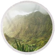 Agave Plants And Rocky Mountains. Santo Antao. Round Beach Towel