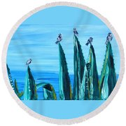 Agave With Sparrows Round Beach Towel
