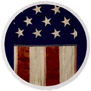 Aged Rustic American Flag Round Beach Towel