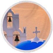 Aghioi Theodoroi Church At Firostefani, Santorini Round Beach Towel