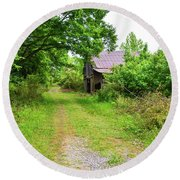 Aging Barn In Woods Round Beach Towel