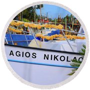 Agios Nikolaos Round Beach Towel