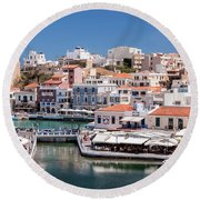 Agios Nikolaos Lagoon Entrance Round Beach Towel