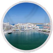Agios Nikolaos Overview Round Beach Towel
