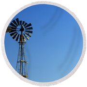 Agricultural Windmill Round Beach Towel