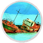 Aground Off Jamaica Round Beach Towel