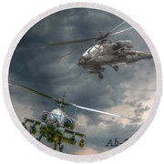 Ah-64 Apache Attack Helicopter In Flight Round Beach Towel by Randy Steele